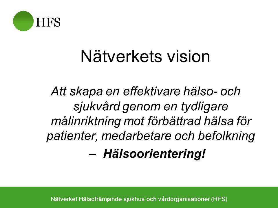 Temagrupper 2010 1.Alkoholprevention (Riskbruksprojektet) 2.Tobaksprevention (Tobaksfri i samband med operation) 3.Matvanor (kostpolicy på sjukhus) 4.Fysisk aktivitet (FaR) 5.Psykisk hälsa (suicidprevention, sorg) 6.Hälsofrämjande arbetsplats (skapa modell, checklista) 7.Hälsofrämjande förhållningssätt (webbaserat utbildningsmaterial) 8.Indikatorer (för en hälsofrämjade hälso- och sjukvård) 9.Avtal/ersättningssystem (för att stödja en hälsoinriktad hälso- och sjukvård; Skåneprojektet ) 10.Hälsofrämjande primärvård (bevaka hälsofrämjande- perspektivet i Vårdval) Nätverket Hälsofrämjande sjukhus och vårdorganisationer (HFS)