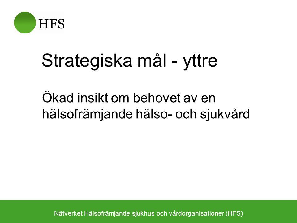 Strategiska mål - inre Optimalt stöd till internt utvecklingsarbete inom hälso- och sjukvården –Patientperspektivet Hälsofrämjande och sjukdomsförebyggande insatser –Befolkningsperspektivet Kunskap som stödjer samhällets arbete för befolkningens hälsa –Medarbetarperspektivet Modellbildare för den goda arbetsplatsen –Styr- & ledningsperspektivet Hälsoorientering som strategi för en effektivare vård Nätverket Hälsofrämjande sjukhus och vårdorganisationer (HFS)