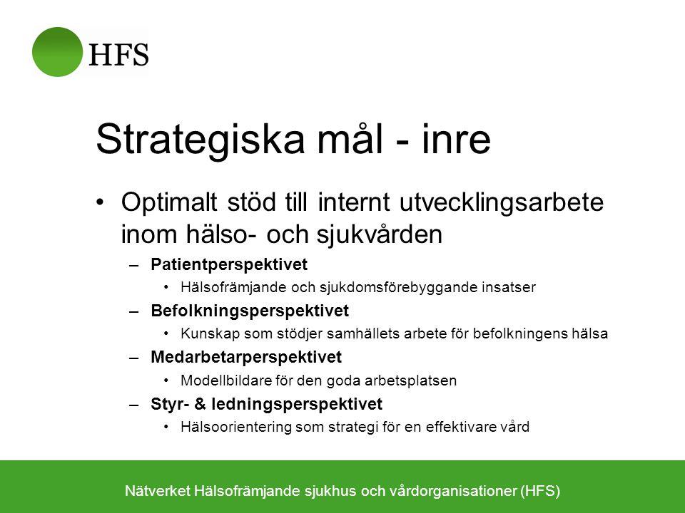 Nätverket växer Nätverket Hälsofrämjande sjukhus och vårdorganisationer (HFS) Nätverket har september 2010 29 medlemsorganisationer med sammanlagt över 60 sjukhus/PV-organisationer (varav ca 50 är sjukhus)