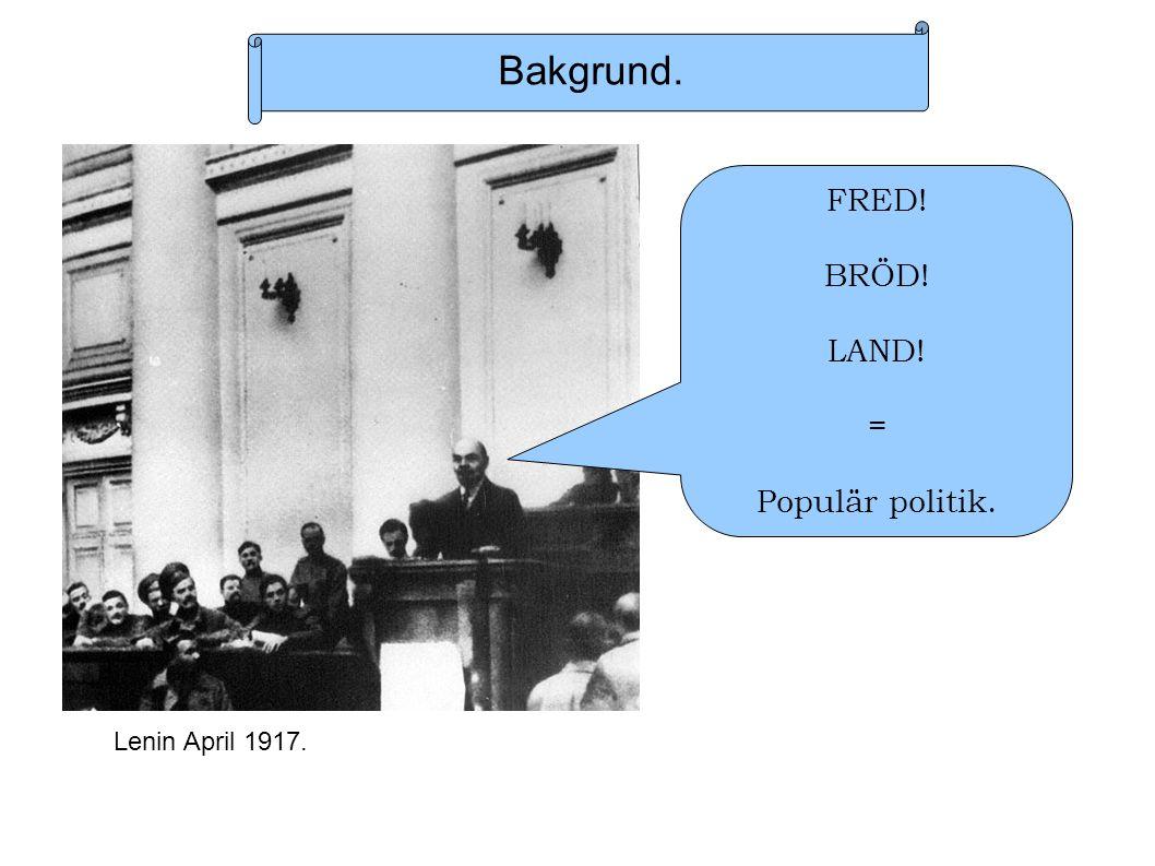Bakgrund. FRED! BRÖD! LAND! = Populär politik. Lenin April 1917.