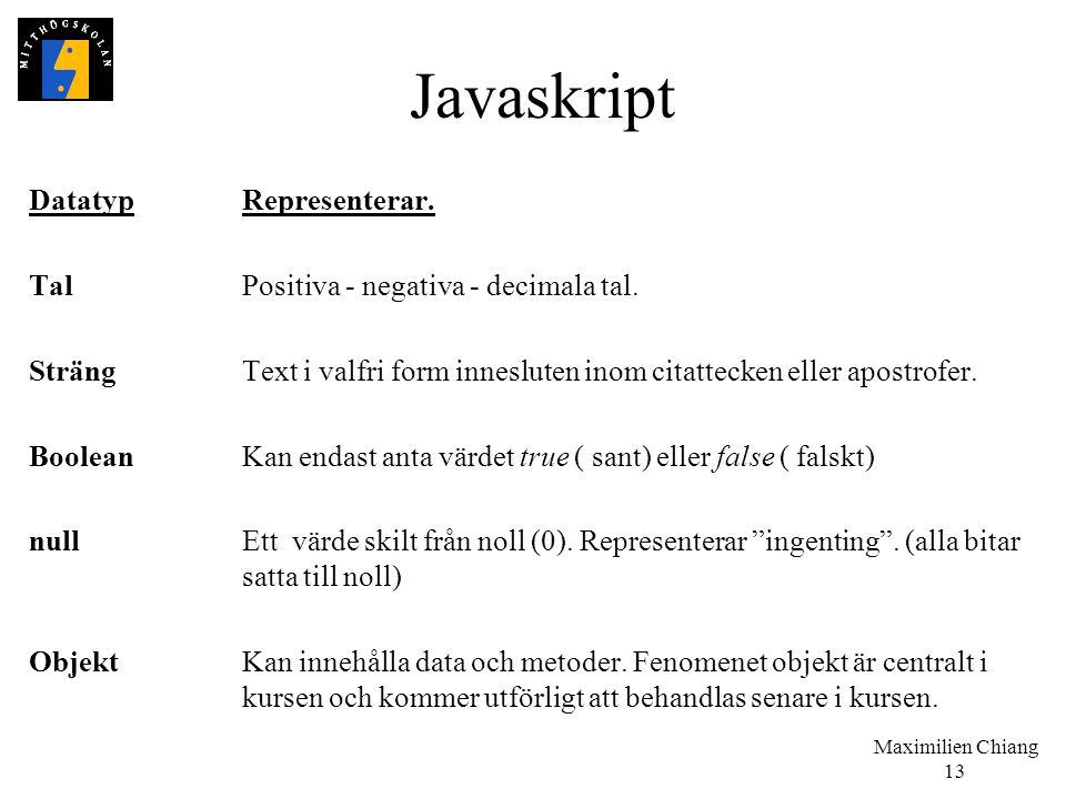 Maximilien Chiang 13 Javaskript DatatypRepresenterar. TalPositiva - negativa - decimala tal. SträngText i valfri form innesluten inom citattecken elle