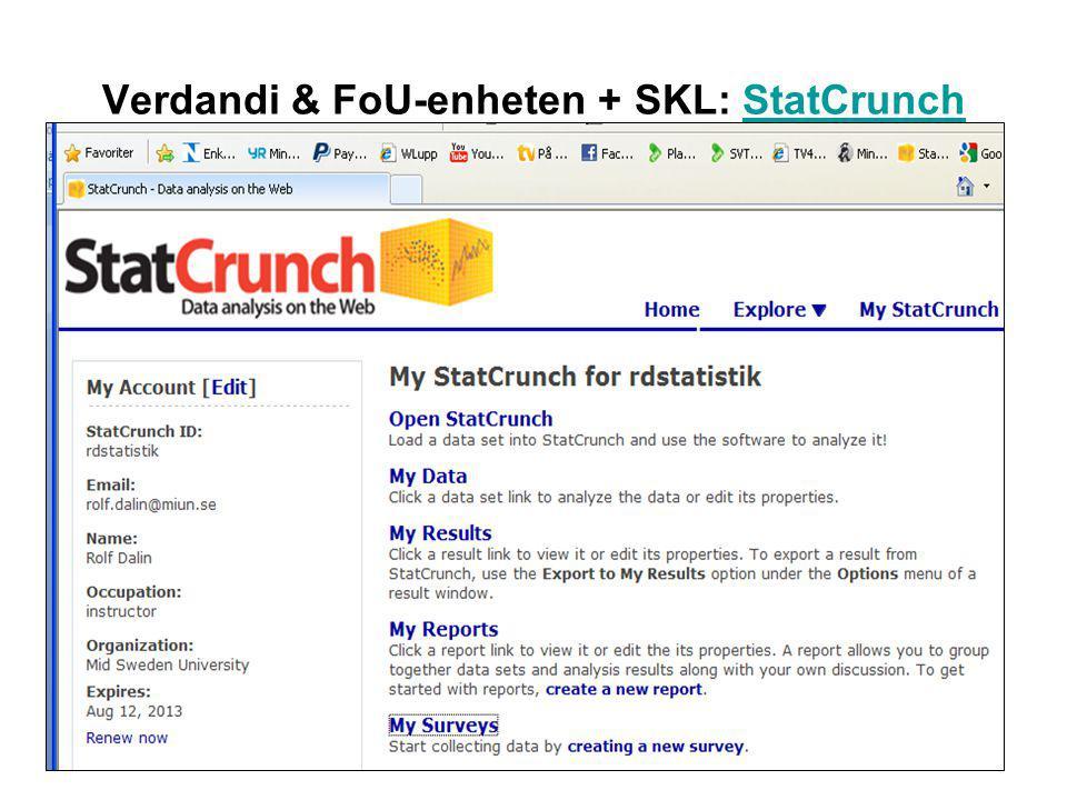 Verdandi & FoU-enheten + SKL: StatCrunchStatCrunch
