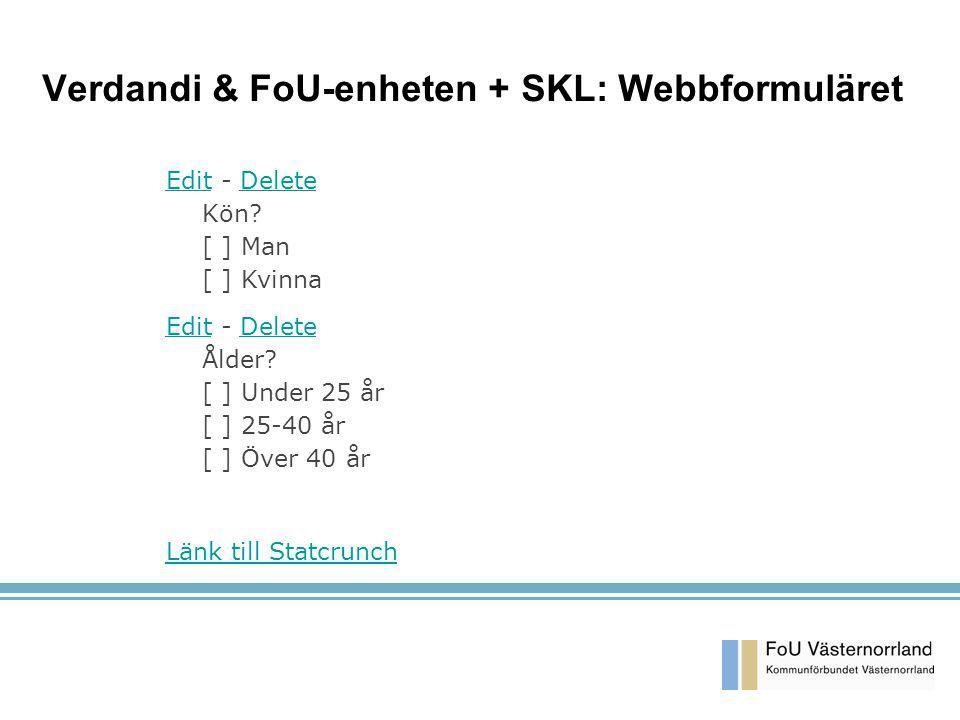 Verdandi & FoU-enheten + SKL: Webbformuläret EditEdit - Delete Kön? [ ] Man [ ] KvinnaDelete EditEdit - Delete Ålder? [ ] Under 25 år [ ] 25-40 år [ ]