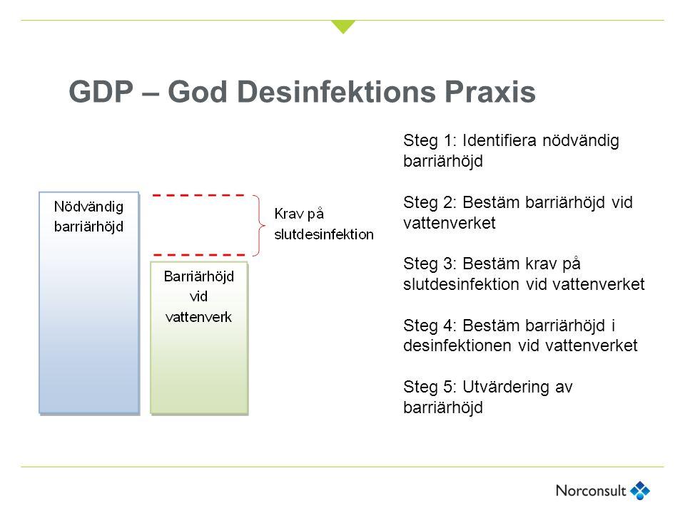 GDP – God Desinfektions Praxis Nödvändig barriärhöjd 5,0b + 5,0v + 3,0p Befintlig barriärhöjd utan desinficering 1,5b + 1,25v+1,25p Krav på desinficering 3,5b + 3,75v-1,75p Inaktiveringsgrad desinfektion 5,80b + 3,72v+ 1,25 1 /1,20 2 p Total barriärhöjd med desinfektion 7,3b + 4,97v+ 2,50 1 /2,45 2 p 1 Giardia 2 Cryptosporidium