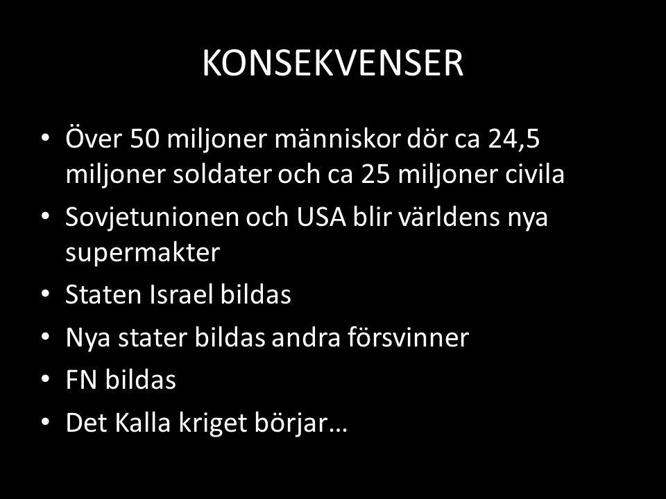 KONSEKVENSER Över 50 miljoner människor dör ca 24,5 miljoner soldater och ca 25 miljoner civila Sovjetunionen och USA blir världens nya supermakter St