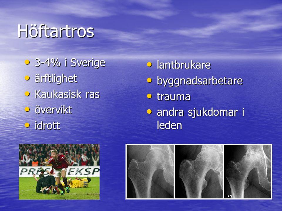 Höftartros 3-4% i Sverige 3-4% i Sverige ärftlighet ärftlighet Kaukasisk ras Kaukasisk ras övervikt övervikt idrott idrott lantbrukare lantbrukare byg