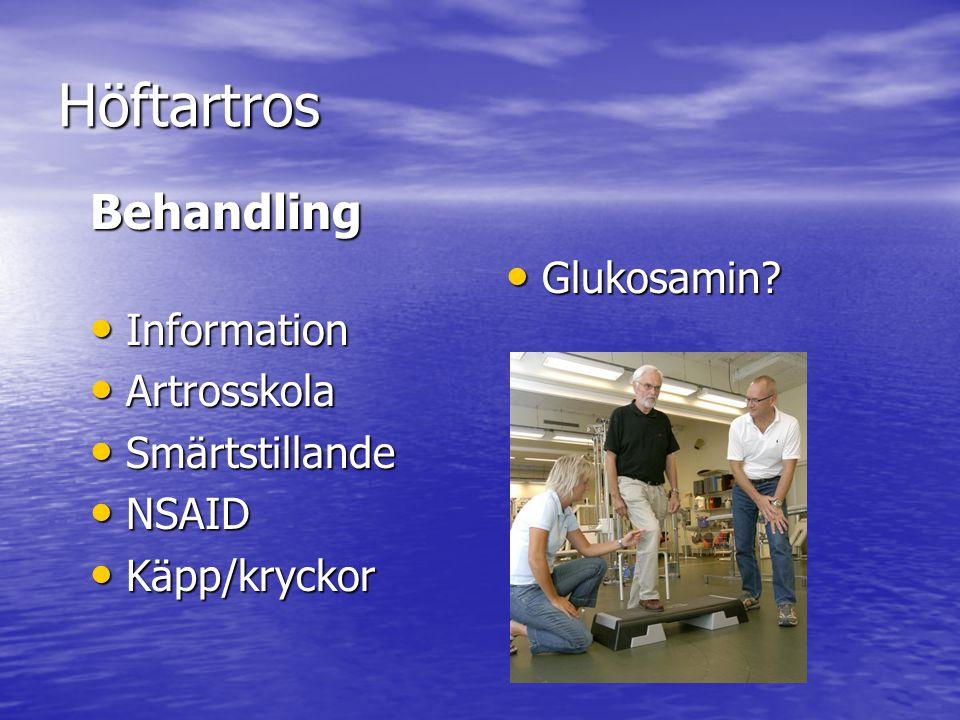 Höftartros Behandling Information Information Artrosskola Artrosskola Smärtstillande Smärtstillande NSAID NSAID Käpp/kryckor Käpp/kryckor Glukosamin?