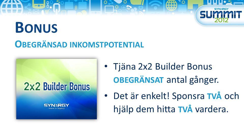 B ONUS O BEGRÄNSAD INKOMSTPOTENTIAL Tjäna 2x2 Builder Bonus OBEGRÄNSAT antal gånger.
