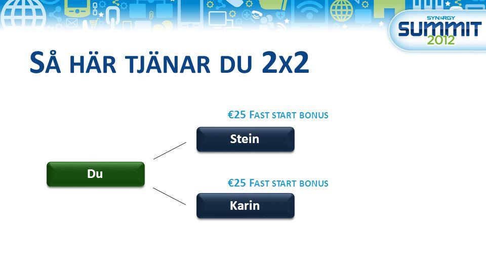 S Å HÄR TJÄNAR DU 2 X 2 Du Stein Karin €25 F AST START BONUS