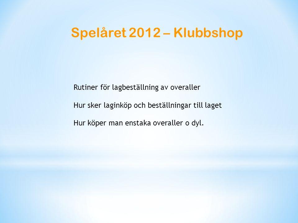 Spelåret 2012 – Klubbshop Rutiner för lagbeställning av overaller Hur sker laginköp och beställningar till laget Hur köper man enstaka overaller o dyl