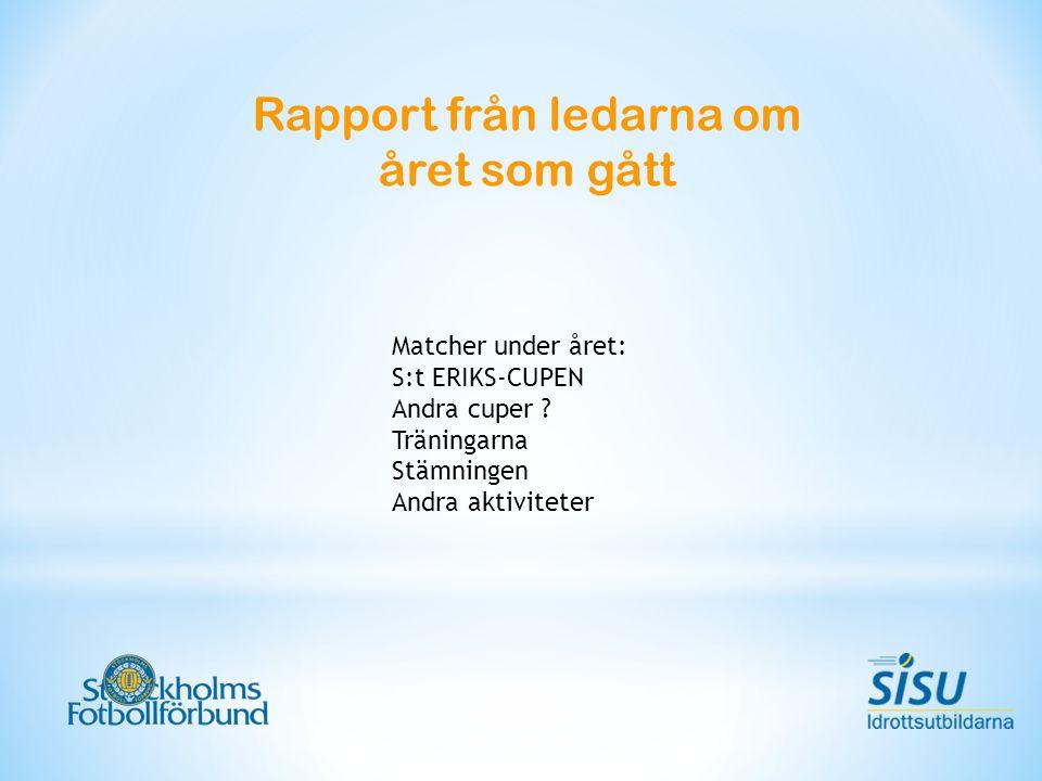 Rapport från ledarna om året som gått Matcher under året: S:t ERIKS-CUPEN Andra cuper ? Träningarna Stämningen Andra aktiviteter
