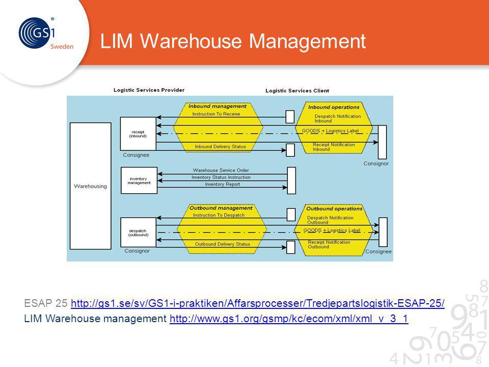 LIM Warehouse Management ESAP 25 http://gs1.se/sv/GS1-i-praktiken/Affarsprocesser/Tredjepartslogistik-ESAP-25/http://gs1.se/sv/GS1-i-praktiken/Affarsprocesser/Tredjepartslogistik-ESAP-25/ LIM Warehouse management http://www.gs1.org/gsmp/kc/ecom/xml/xml_v_3_1http://www.gs1.org/gsmp/kc/ecom/xml/xml_v_3_1