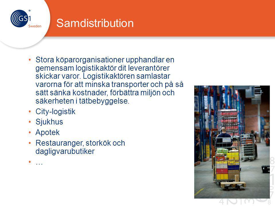 Samdistribution Stora köparorganisationer upphandlar en gemensam logistikaktör dit leverantörer skickar varor.