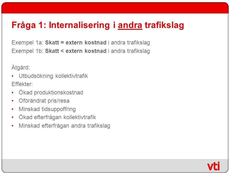 Fråga 1: Internalisering i andra trafikslag Exempel 1a: Skatt = extern kostnad i andra trafikslag Exempel 1b: Skatt < extern kostnad i andra trafiksla