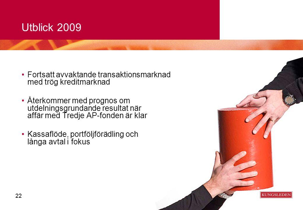 22 Utblick 2009 Fortsatt avvaktande transaktionsmarknad med trög kreditmarknad Återkommer med prognos om utdelningsgrundande resultat när affär med Tr