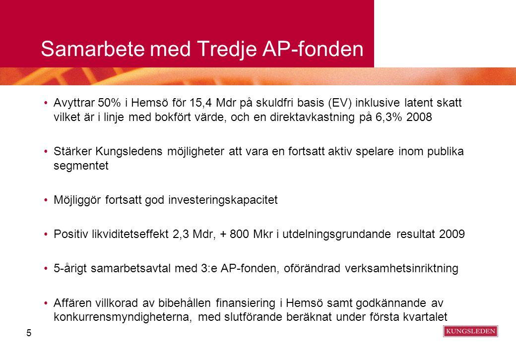 Samarbete med Tredje AP-fonden Avyttrar 50% i Hemsö för 15,4 Mdr på skuldfri basis (EV) inklusive latent skatt vilket är i linje med bokfört värde, oc