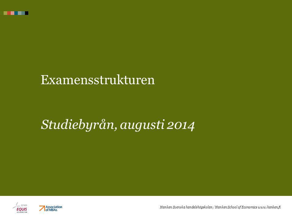 Examensstrukturen Studiebyrån, augusti 2014 Hanken Svenska handelshögskolan / Hanken School of Economics www.hanken.fi