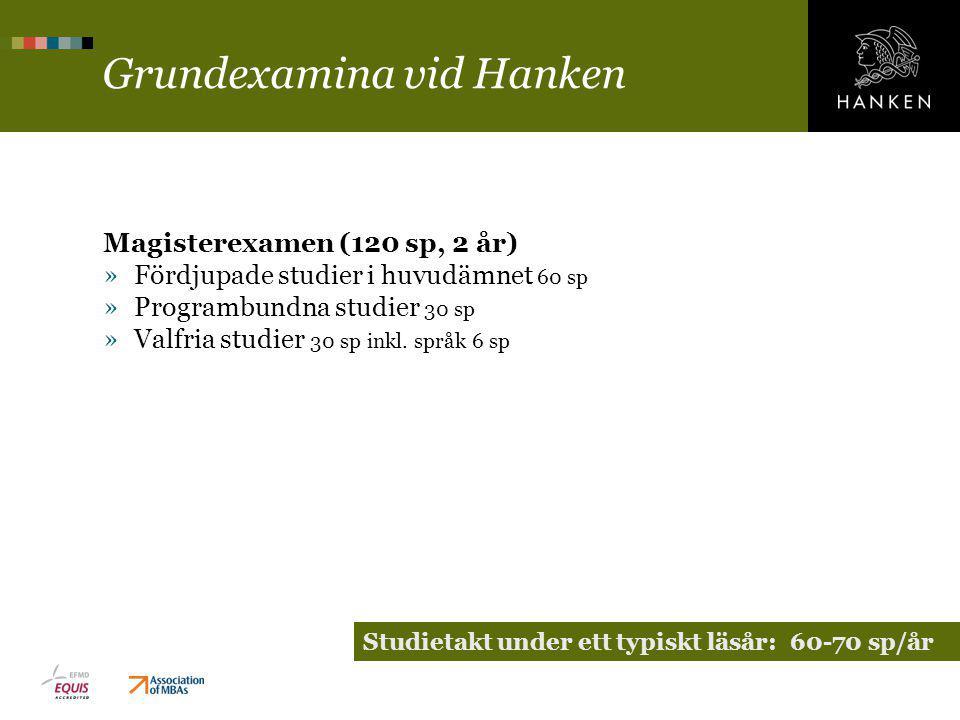 Grundexamina vid Hanken Magisterexamen (120 sp, 2 år) »Fördjupade studier i huvudämnet 60 sp »Programbundna studier 30 sp »Valfria studier 30 sp inkl.