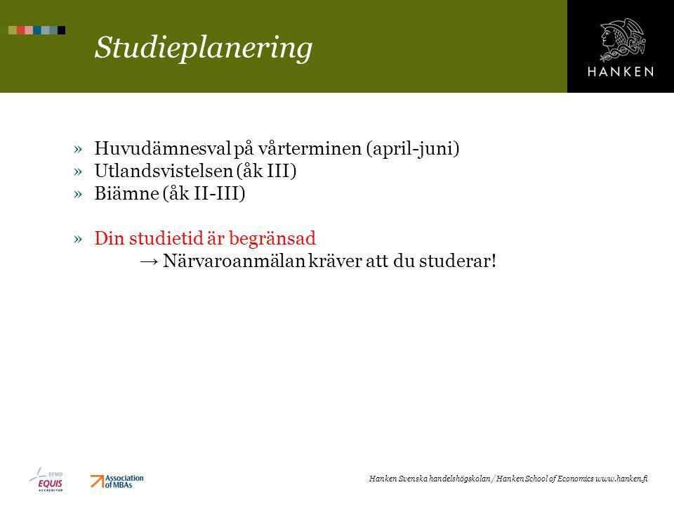 Studieplanering »Huvudämnesval på vårterminen (april-juni) »Utlandsvistelsen (åk III) »Biämne (åk II-III) »Din studietid är begränsad → Närvaroanmälan kräver att du studerar.