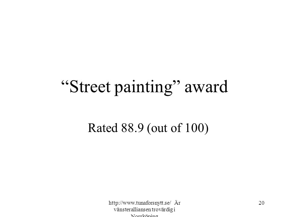 """Street painting"" award Rated 88.9 (out of 100) 20http://www.tunaforsnytt.se/ Är vänsteralliansen trovärdig i Norrköping"