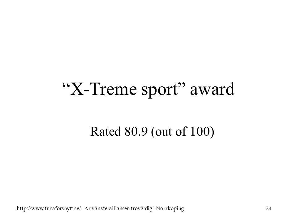 X-Treme sport award Rated 80.9 (out of 100) 24http://www.tunaforsnytt.se/ Är vänsteralliansen trovärdig i Norrköping