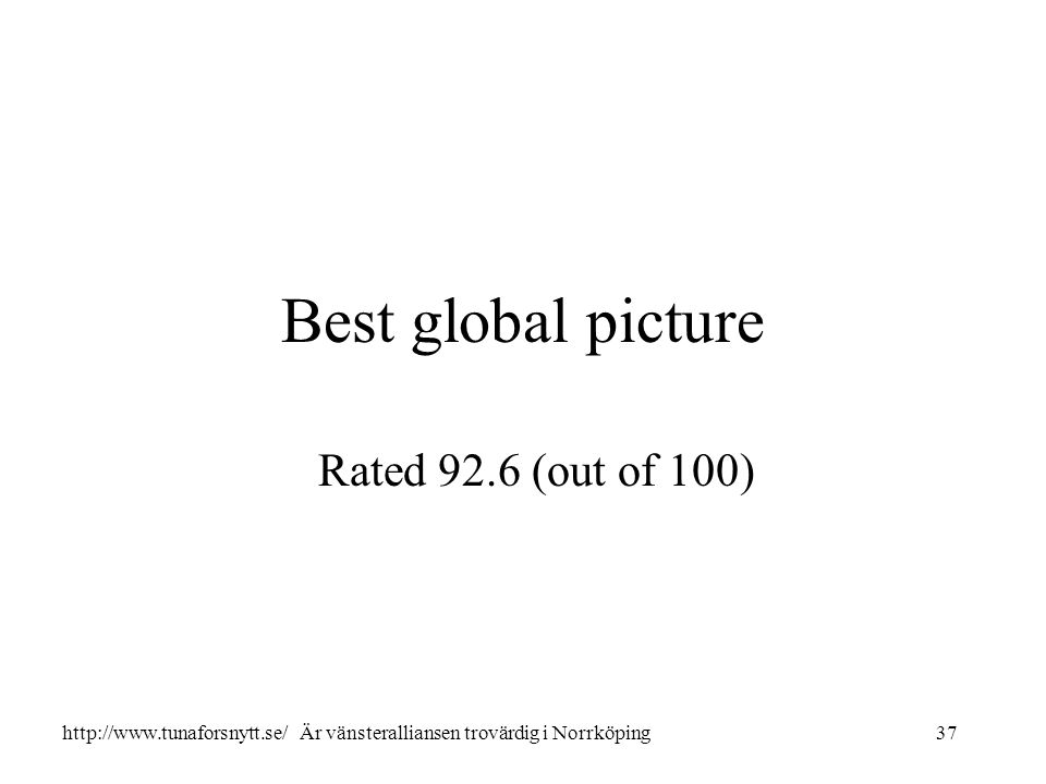 Best global picture Rated 92.6 (out of 100) 37http://www.tunaforsnytt.se/ Är vänsteralliansen trovärdig i Norrköping