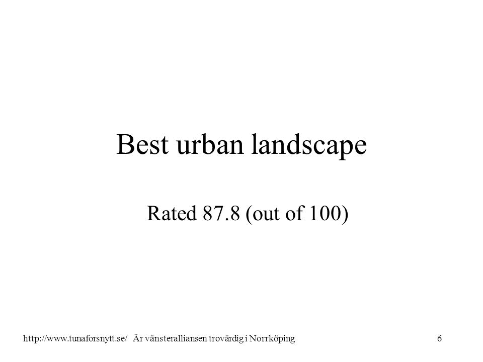 Best urban landscape Rated 87.8 (out of 100) 6http://www.tunaforsnytt.se/ Är vänsteralliansen trovärdig i Norrköping