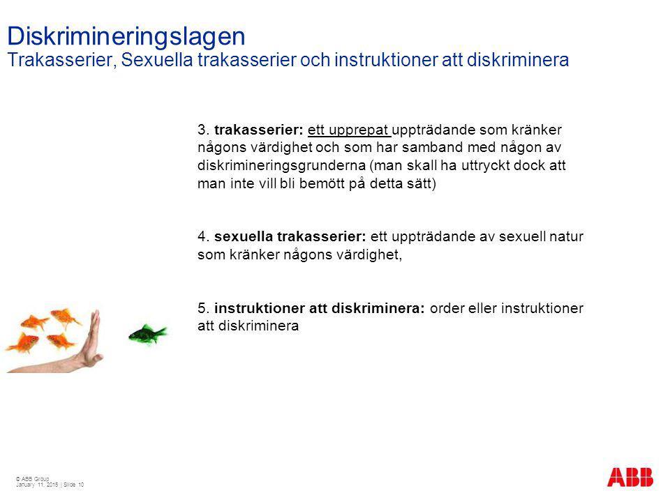 © ABB Group January 11, 2015 | Slide 10 Diskrimineringslagen Trakasserier, Sexuella trakasserier och instruktioner att diskriminera 3. trakasserier: e