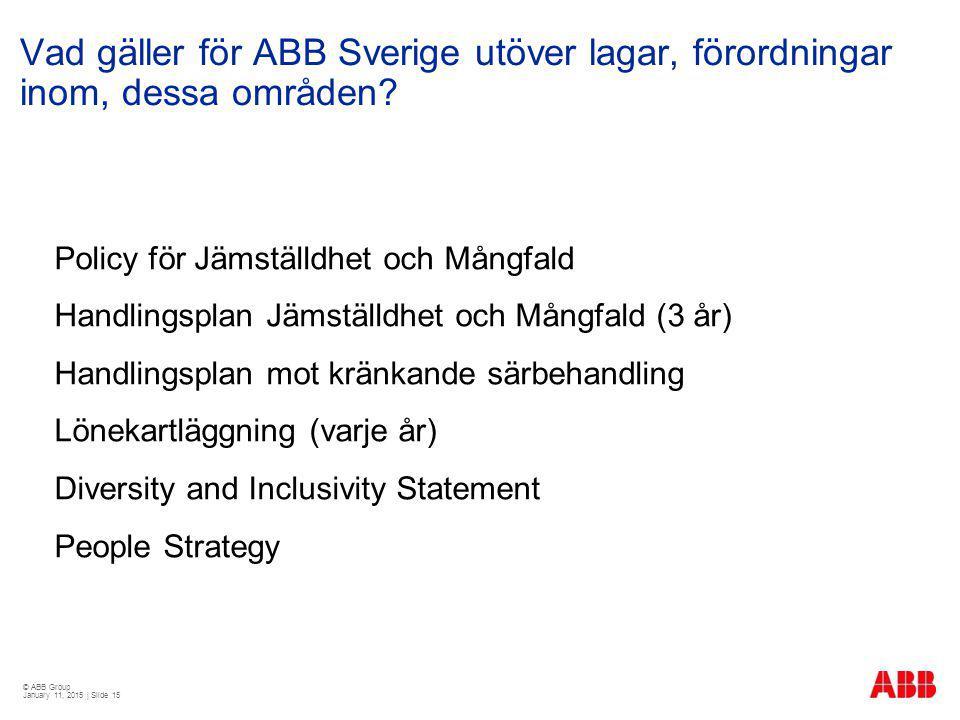 © ABB Group January 11, 2015 | Slide 15 Vad gäller för ABB Sverige utöver lagar, förordningar inom, dessa områden? Policy för Jämställdhet och Mångfal