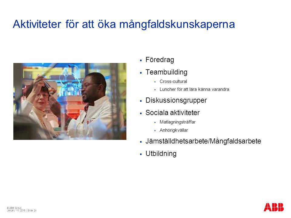 © ABB Group January 11, 2015 | Slide 24 Aktiviteter för att öka mångfaldskunskaperna  Föredrag  Teambuilding  Cross-cultural  Luncher för att lära