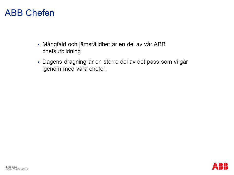 © ABB Group January 11, 2015 | Slide 16 Mångfalds- och jämställdhetspolicy ABB Sverige
