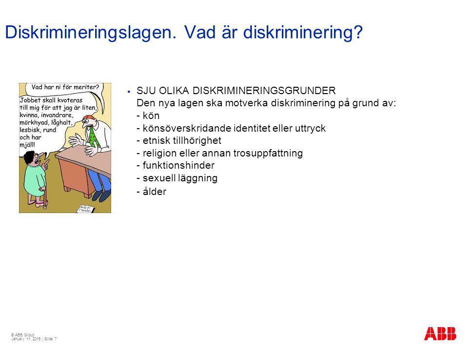 © ABB Group January 11, 2015 | Slide 7 Diskrimineringslagen. Vad är diskriminering?  SJU OLIKA DISKRIMINERINGSGRUNDER Den nya lagen ska motverka disk