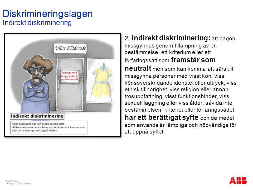 © ABB Group January 11, 2015 | Slide 9 Diskrimineringslagen Indirekt diskriminering 2. indirekt diskriminering: att någon missgynnas genom tillämpning