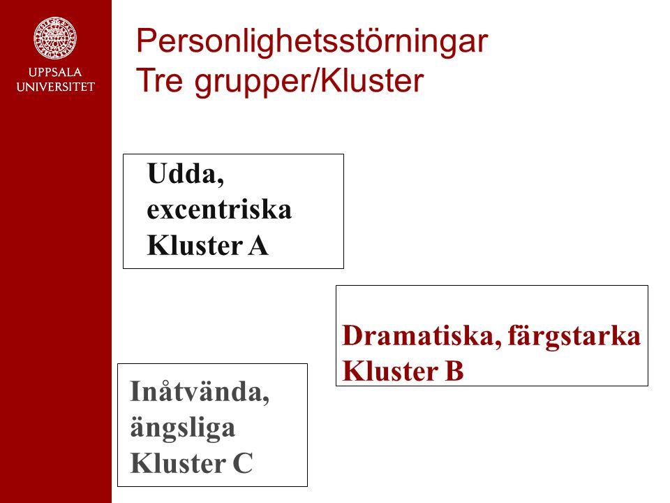 Personlighetsstörningar Tre grupper/Kluster Udda, excentriska Kluster A Dramatiska, färgstarka Kluster B Inåtvända, ängsliga Kluster C