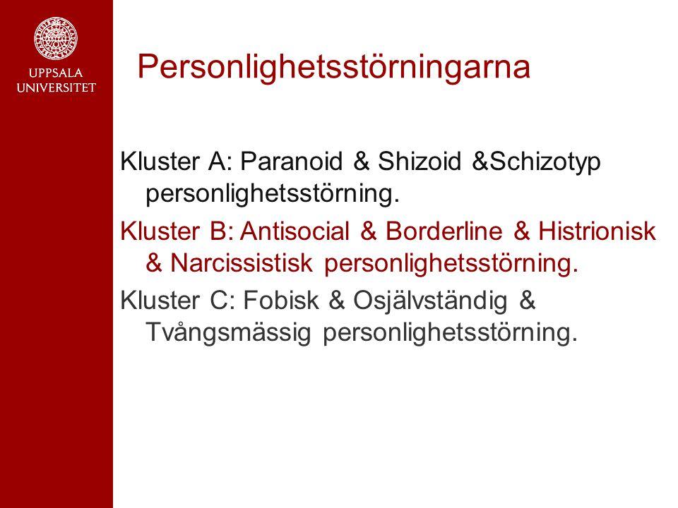 Personlighetsstörningarna Kluster A: Paranoid & Shizoid &Schizotyp personlighetsstörning.
