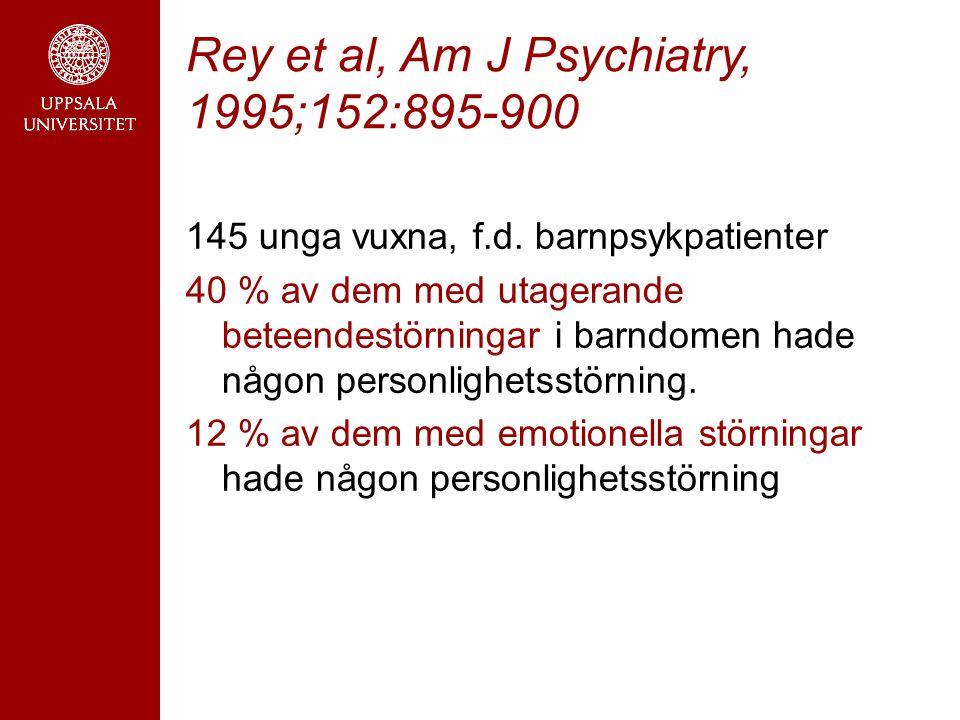 Rey et al, Am J Psychiatry, 1995;152:895-900 145 unga vuxna, f.d.