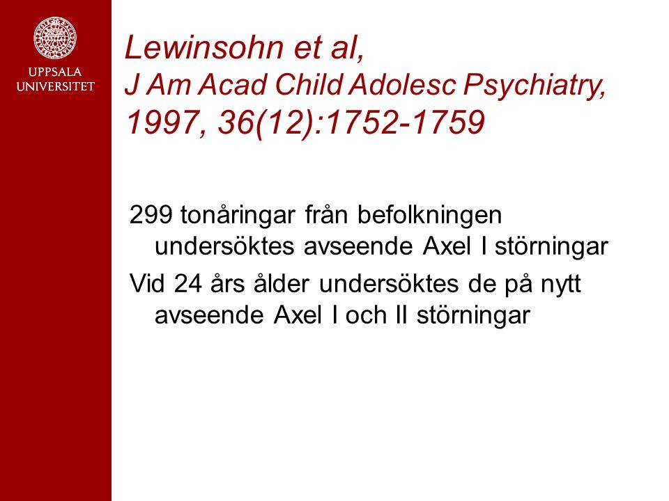 Lewinsohn et al, J Am Acad Child Adolesc Psychiatry, 1997, 36(12):1752-1759 299 tonåringar från befolkningen undersöktes avseende Axel I störningar Vid 24 års ålder undersöktes de på nytt avseende Axel I och II störningar