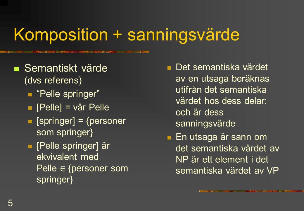 5 Komposition + sanningsvärde Semantiskt värde (dvs referens) Pelle springer [Pelle] = vår Pelle [springer] = {personer som springer} [Pelle springer] är ekvivalent med Pelle ∈  {personer som springer} Det semantiska värdet av en utsaga beräknas utifrån det semantiska värdet hos dess delar; och är dess sanningsvärde En utsaga är sann om det semantiska värdet av NP är ett element i det semantiska värdet av VP