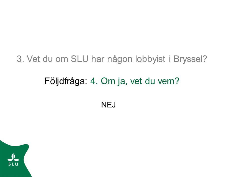 3. Vet du om SLU har någon lobbyist i Bryssel Följdfråga: 4. Om ja, vet du vem NEJ
