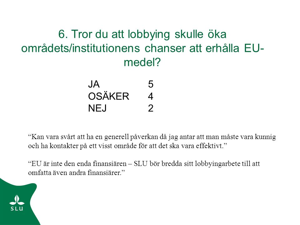 """6. Tror du att lobbying skulle öka områdets/institutionens chanser att erhålla EU- medel? JA5 OSÄKER4 NEJ2 """"Kan vara svårt att ha en generell påverkan"""