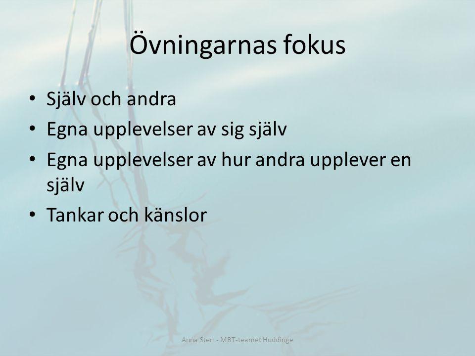 Själv och andra Egna upplevelser av sig själv Egna upplevelser av hur andra upplever en själv Tankar och känslor Övningarnas fokus Anna Sten - MBT-tea