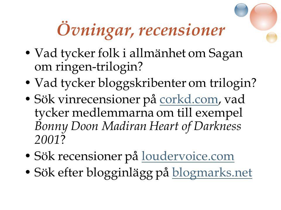 Övningar, recensioner Vad tycker folk i allmänhet om Sagan om ringen-trilogin.