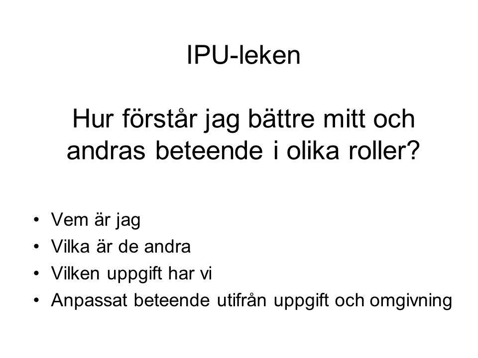 IPU-leken Hur förstår jag bättre mitt och andras beteende i olika roller? Vem är jag Vilka är de andra Vilken uppgift har vi Anpassat beteende utifrån