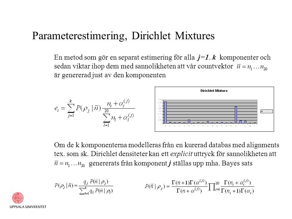 Parameterestimering, Dirichlet Mixtures En metod som gör en separat estimering för alla j=1..k komponenter och sedan viktar ihop dem med sannolikheten att vår countvektor är genererad just av den komponenten Om de k komponenterna modelleras från en kurerad databas med alignments tex.