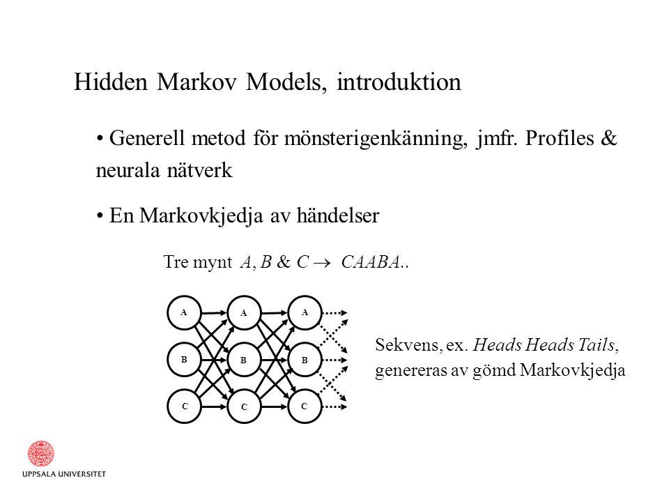 Hidden Markov Models, introduktion..