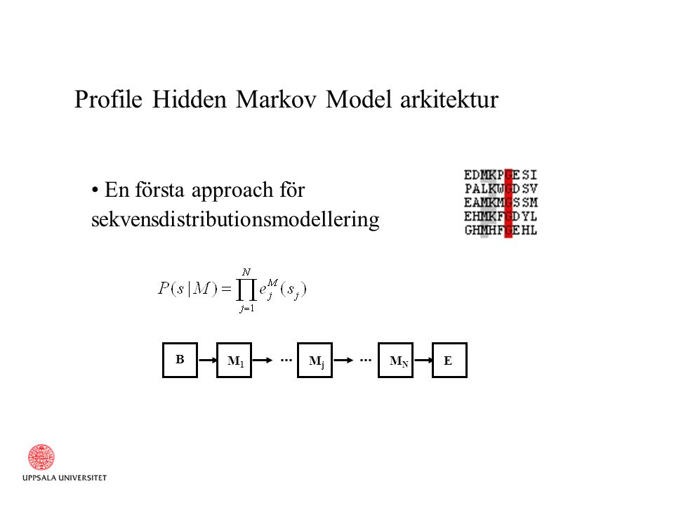 Profile Hidden Markov Model arkitektur..