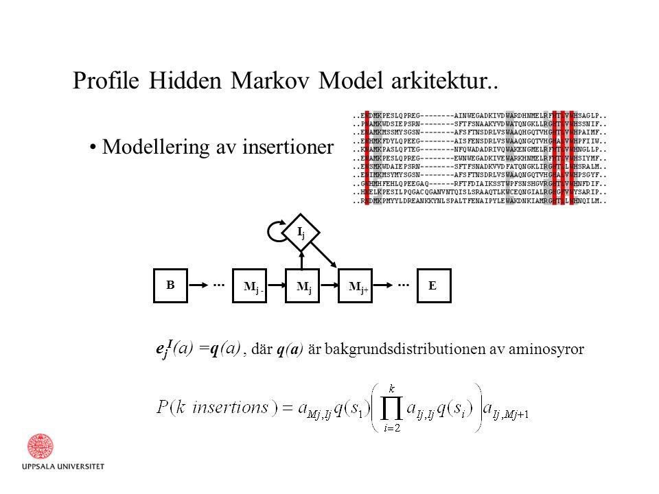 Profile Hidden Markov Model arkitektur.. Modellering av insertioner B M j - MjMj M j+ E IjIj e j I (a) =q(a), där q(a) är bakgrundsdistributionen av a