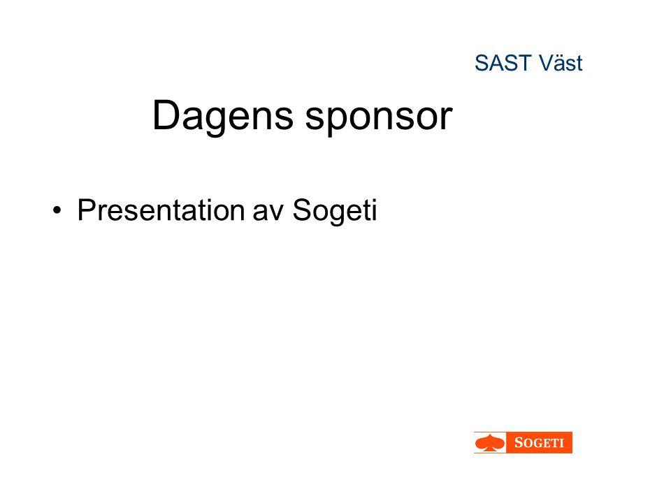 SAST Väst Dagens sponsor Presentation av Sogeti