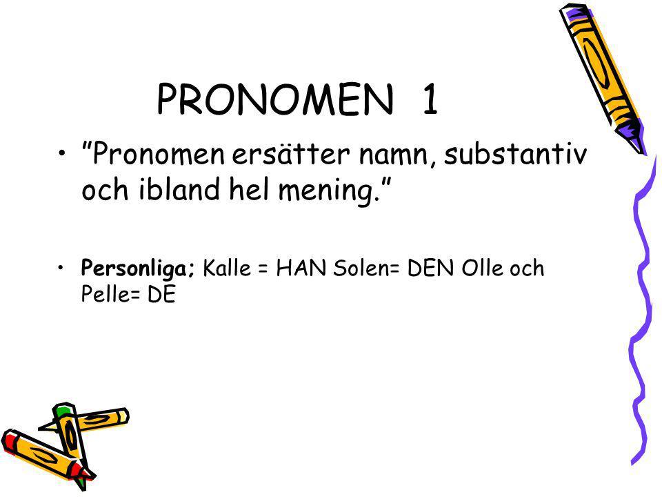"""PRONOMEN1 """"Pronomen ersätter namn, substantiv och ibland hel mening."""" Personliga; Kalle = HAN Solen= DEN Olle och Pelle= DE"""