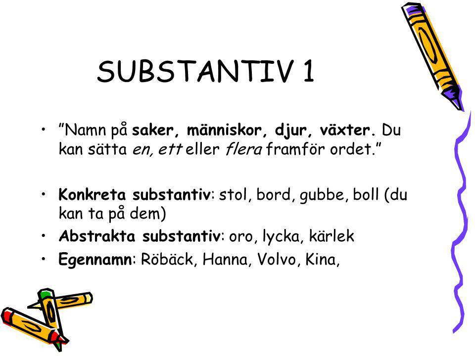 """SUBSTANTIV 1 """"Namn på saker, människor, djur, växter. Du kan sätta en, ett eller flera framför ordet."""" Konkreta substantiv: stol, bord, gubbe, boll (d"""